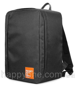 Рюкзак для ручної поклажі PoolParty Airport (чорний) - Wizz Air / МАУ