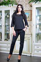 Блуза из стеганного трикотажа МИЛЕНА черный