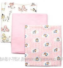 Детская пеленка Байка от Baby-Tex для девочек по 3 штуки 90-110 см.Набор