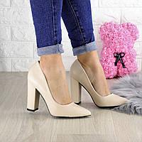 Туфли женские на каблуке бежевые Hussy 1440