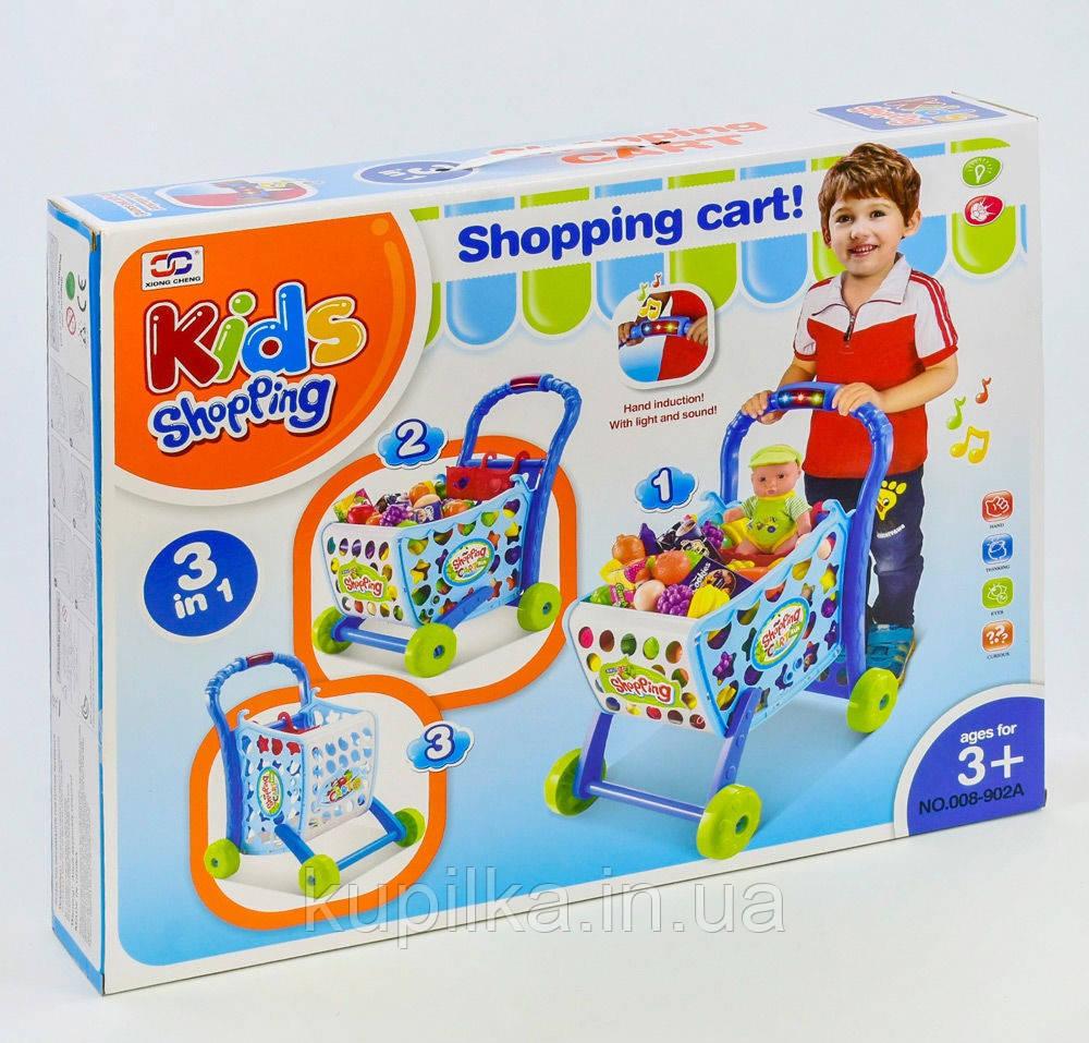 """Игровой набор 008-902 А """"Супермаркет, тележка с продуктами, играет мелодия, светится"""