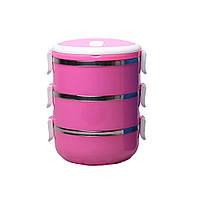 Тройной ланч бокс Kamille 2100 мл Pink (KM-2129_P)