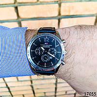 Часы мужские в стиле Tommy Hilfiger. Мужские наручные часы черные. С черным циферблатом Годинник чоловічий