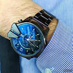 Часы мужские в стиле Diesel. Мужские наручные часы черные. С черным циферблатом Годинник чоловічий