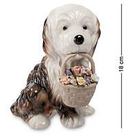 Статуэтка Pavone Собачка с цветами 18 см 1101299 фарфор фарфоровая фигурка павоне собака