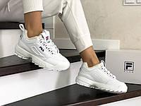 Кроссовки зимние Fila Disruptor 2 женские, белые, в стиле Фила Дизраптор, кожа, мех, код SD-8628
