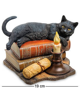 Статуэтка Veronese Черный Кот на книгах 19 см 1904541 кошка цветная фигурка веронезе