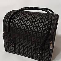 Бьюти кейс чемодан для мастера салонов красоты нубук на змейке фенди черный