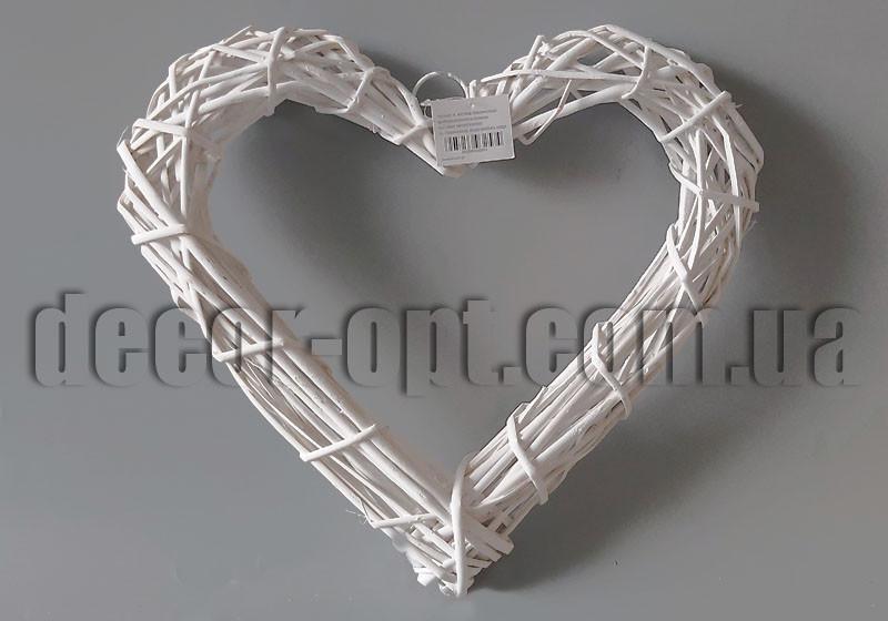 Сердце белое из ротанга 40х38см YD15-601A