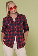 GLEM клетчатая рубашка батал Пальмира-Б д/р XL, XXL, XXXL