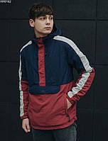 Куртка мужская с капюшоном анорак Staff global navy & red