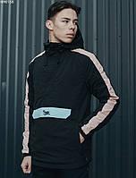 Куртка мужская с капюшоном анорак Staff global black & light
