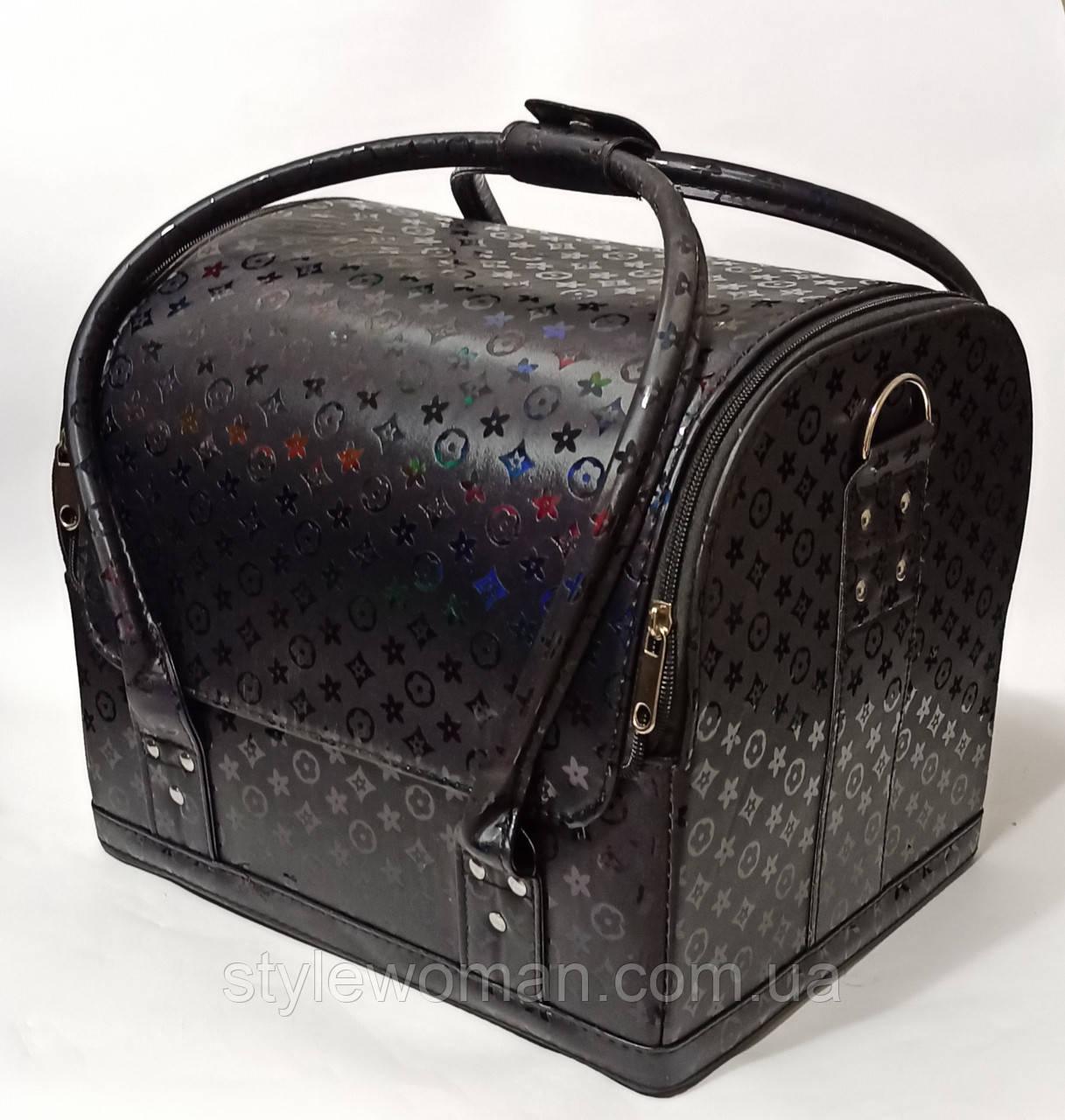 Бьюти кейс чемодан для мастера салонов красоты из кожзама на змейке черный луи