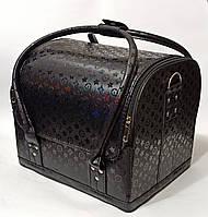 Бьюти кейс чемодан для мастера салонов красоты из кожзама на змейке черный луи, фото 1