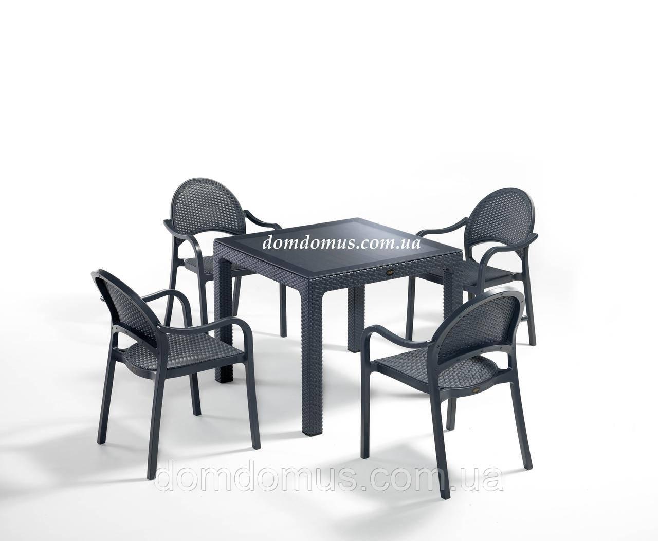 """Комплект высококачественной мебели """" TROPIC FOR 4""""   (стол 90*90, 4 кресла) Novussi, Турция"""