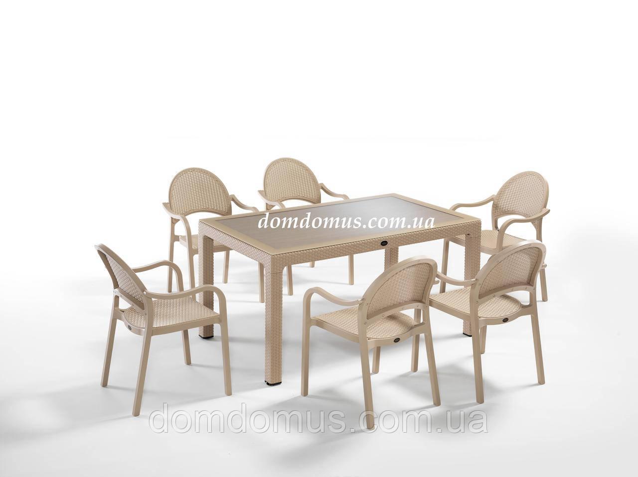 """Комплект высококачественной мебели """" TROPIC FOR 6""""   (стол 90*150, 6 кресла) Novussi, Турция"""