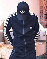 Олимпийка утепленная мужская в стиле Adidas Round черная, фото 1