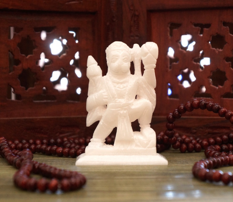 9170060 Статуэтка белый мрамор Хануман