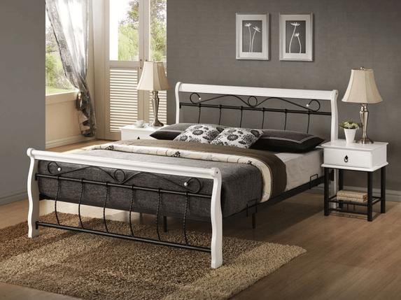 Кровать Venecja 160x200 Signal черно-белый, фото 2