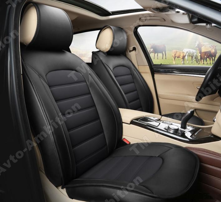 Чехлы на сиденья Ауди 80 Б3 (Audi 80 B3) (модельные, экокожа Аригон) черно-белый