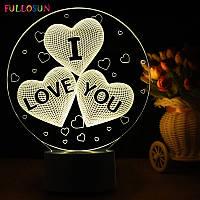 """3D Светильник Любовь """"LOVE"""", 1 светильник- 16 цветов света. Подарки на 14 февраля"""