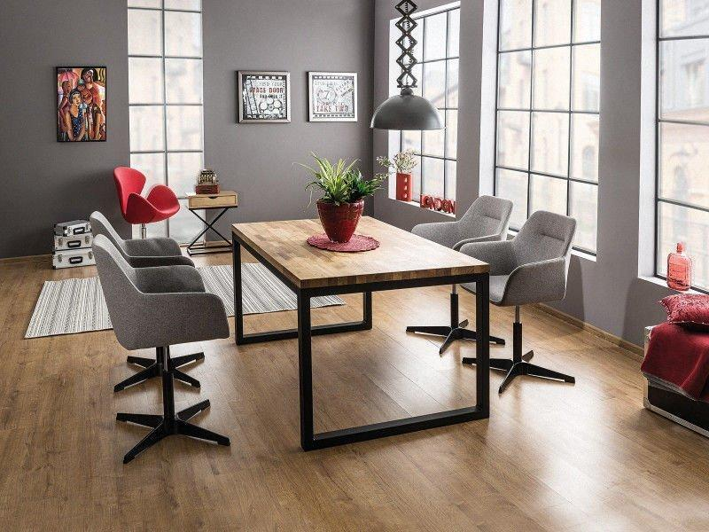 Стол обеденный деревянный Loras II 120×80 Signal массив дуба/черный