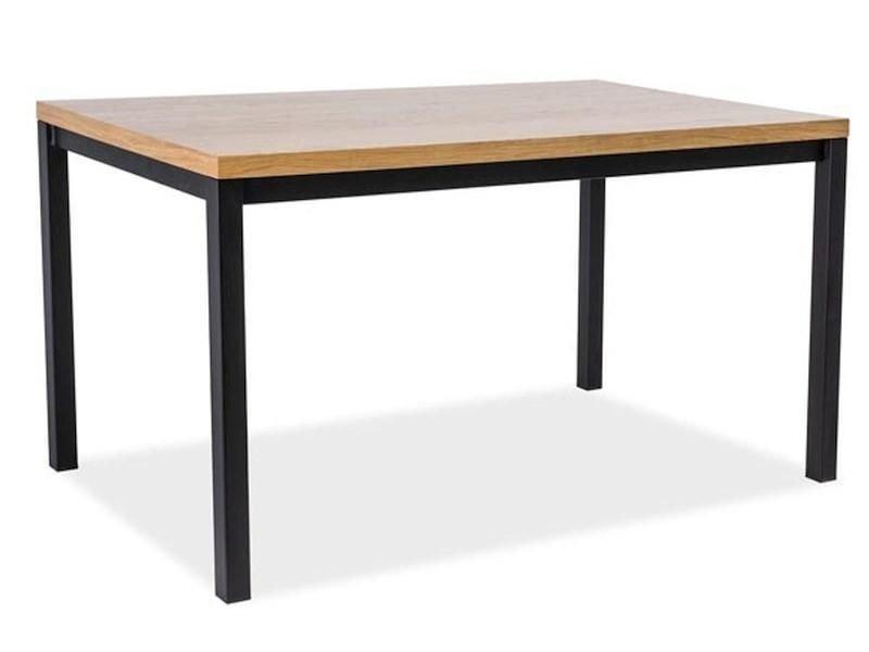 Стол обеденный деревянный NORMANO 180×90 Signal массив дуба/черный