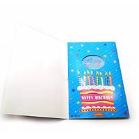 """Открытка музыкальная с конвертом """"Happy birhtday"""" (19х13 см) ( 28896)"""