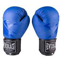 Боксерские перчатки EVER DX матовый, р-ры 8, 10, 12oz, синий.