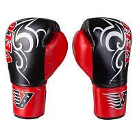 Боксерские перчатки Velo на шнуровке, кожа, 12oz, красно/черный
