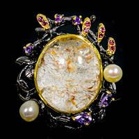 Крупное Кольцо ручной работы с шикарным Лодолитом (Фантомный кварц), Аметистами, Гранатами родолитами и Жемчуг