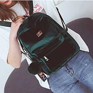 Бархатный женский мини рюкзак (зеленый) с брелком, фото 2