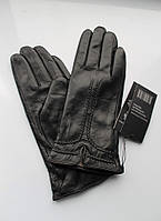 Женские кожаные перчатки черные