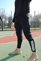 Штаны утеплённые чёрные с рефлективными лампасами Adidas