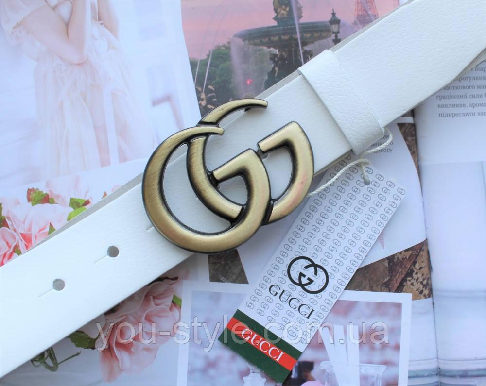 Женский ремень Gucci пряжка бронза белый