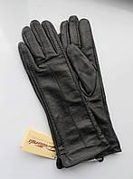 Женские кожаные удлинённые перчатки черные