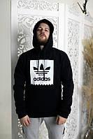 Толстовка утепленная Adidas черная с белым
