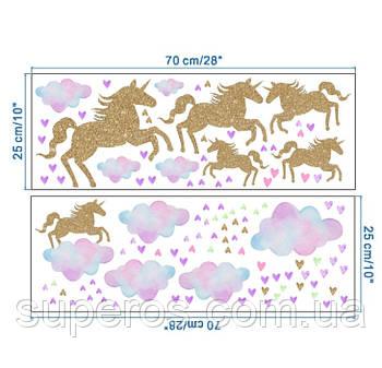 Интерьерная наклейка для детской комнаты KS6629 Единороги и облака