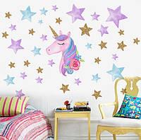 Интерьерная наклейка для детской комнаты KSD8817-1 Единорог и звезды