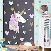 Интерьерная наклейка для детской комнаты KSD8817-2 Единорог и сердца