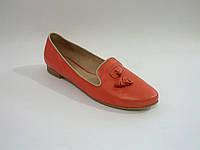 Кожаные яркие коралловые стильные польские балетки Kati 5401