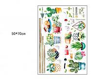 Интерьерная наклейка Кактусы и сукуленты HM71007, фото 2