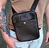Вс07 Натуральная кожа Сумка мужская через плечо кожаная Сумка мужская из натуральной кожи черная на ремне, фото 5