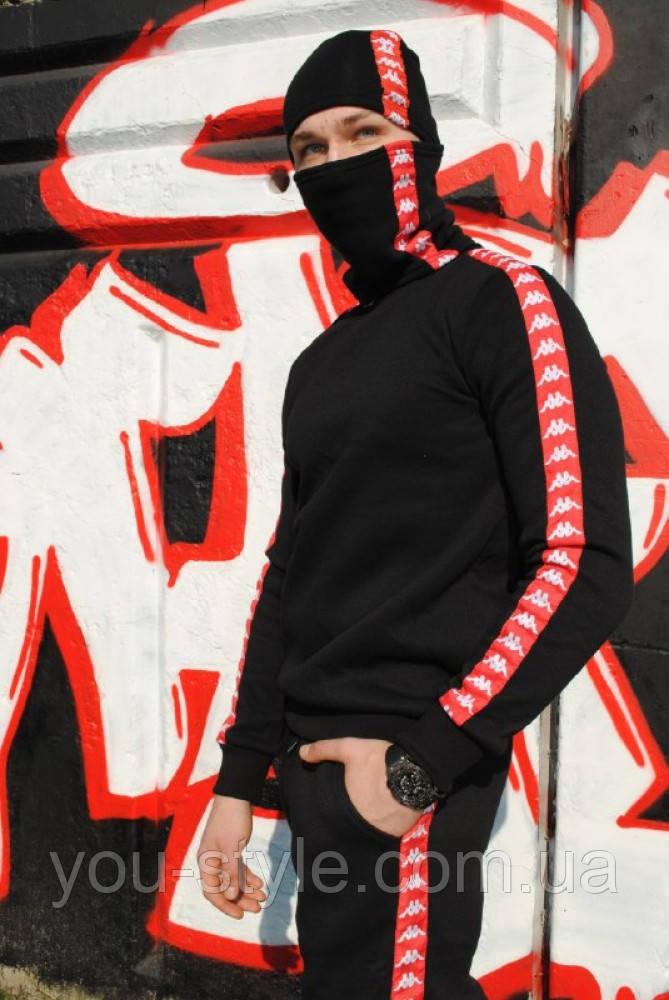 Шапка чёрная с красно-белым лампасом Карра