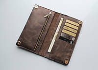 """Мужской кошелек из натуральной кожи """"Leone"""" коричневый, фото 1"""
