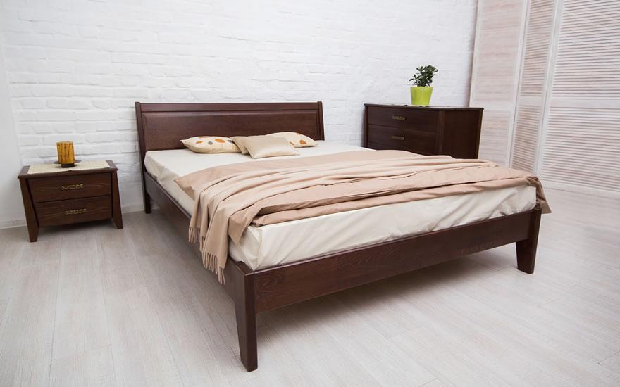 Двуспальная кровать Микс Мебель Сити с интарсией(т. орех) 1800*2000 с подьемным механизмом
