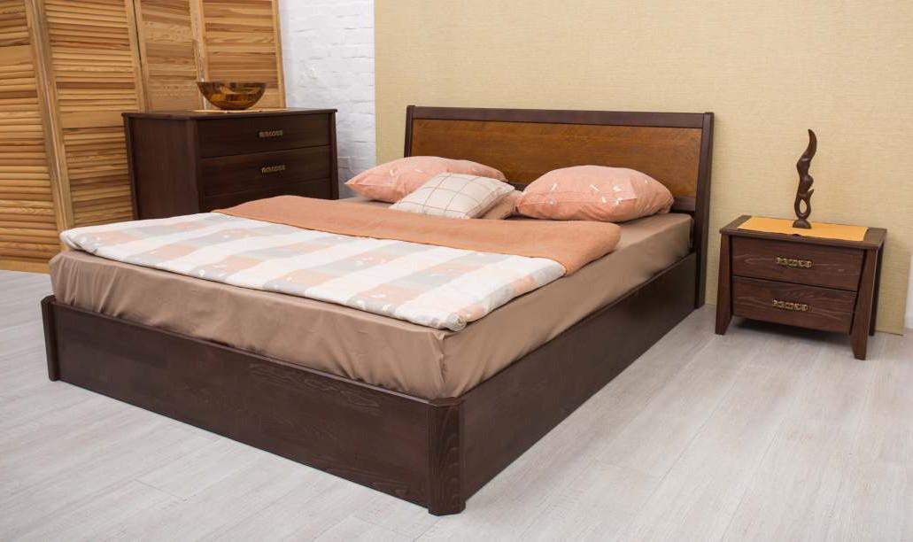 Двуспальная кровать Микс Мебель Сити с интарсией(св.орех) 1400*1900 с подьемным механизмом