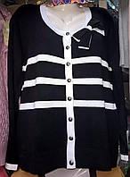 Черная кофта на пуговицах с бантом