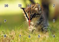 """Часы настенные  стеклянные """"Котенок"""" кварцевые, фото 1"""