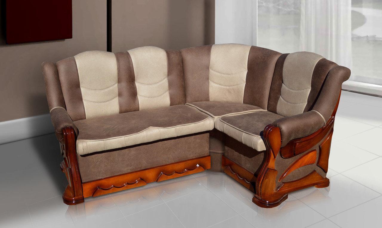 Мягкий раскладной уголок Микс Мебель Визит 175*130 (Alberta 07+05) (Бук)